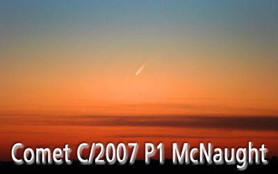 Comet C/2006 P1 McNaught in the northern sky.